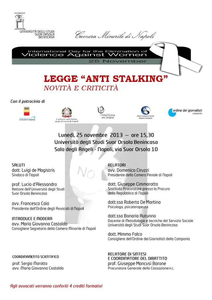 Programma Completo Convegno La nuova legge sullo stalking